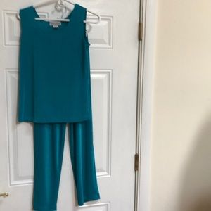 stretchy teal color two piece set